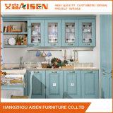 Module de cuisine lumineux en bois solide de modèle de couleur bleu-clair