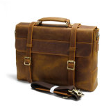 Портфель кожи мешка компьтер-книжки посыльного людей Brown сбор винограда кожаный