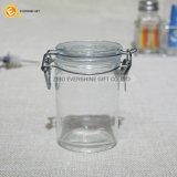 Breiter Mund-Glas-Speicher mit Glaskappen-und Metallclip
