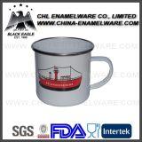 250ml promocional embroma la taza blanca del esmalte con insignia modificada para requisitos particulares