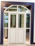 De Europese Deur van het Glas van de Gordijnstof van de Stijl UPVC met Overspannen Bovenkant voor Balkon (pcd-002)