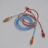 Cabo de dados Shining colorido do USB da luz do diodo emissor de luz
