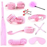 10PCS / Set Ebay Hot Sell Sex Bondage Kit Rope Ball Gag Cuffs Whip Collar Blindfold Adulto Sexy Toy -Xn0075