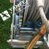 Double treuil de main de vitesses avec la corde de fil d'acier