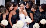 Mischungs-Art-Sleeveless geschwollener Schärpe-Kurzschluss-preiswertes Brautjunfer-Kleid