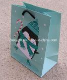 Petits sacs de papier de cadeau de scintillement de modèle fait sur commande de neige avec le fond plat