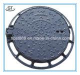 Couverture de trou d'homme ronde de fer de moulage de couverture de trou d'homme d'égout malléable de fer En124 B125