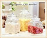 Jarro de armazenamento de alimentos de vidro de estilo diferente 3PC com tampa de vidro