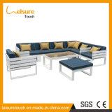 Jeu en aluminium bleu de sofa de patio de cru de meubles en bois en plastique extérieurs de jardin