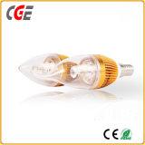 Bulbo quente do filamento do diodo emissor de luz da forma da vela da economia da venda