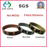 Fascia 100% di manopola poco costosa del silicone del braccialetto di colore metallico
