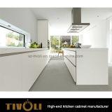 Il nuovo Pantry di laccatura bianco come la neve della cucina con l'isola e la maniglia progettano liberamente Tivo-0207h