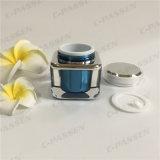 化粧品の包装のための正方形シリーズ30g Blue-Blackアクリルのクリーム色の瓶(PPC-ACJ-079)