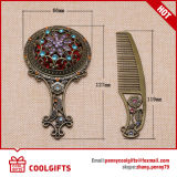 Hollow-out pequeño espejo de bolsillo cosméticos de plata y conjunto de peine