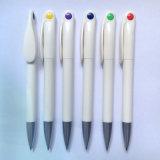 Pluma de bola promocional plástica blanca con la impresión Logol (P2007)