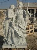 Madame découpée par pierre de marbre blanche Statues Figure de musique