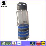 Garrafa de água do esporte das bebidas de Tritan com palha da aleta da faixa do silicone