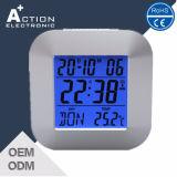 Despertador digital digital Dcf Rcc com retroiluminação LED e temperatura