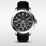 Chronograph-Uhr-Männer 5ATM imprägniern echtes Leder-Quarz-Armbanduhr-Sport Watch72231