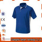 T-shirts bleus de polo de coton de la qualité des hommes faits sur commande