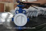 Válvula de mariposa partida cubierta PTFE de la maneta de la oblea de la carrocería