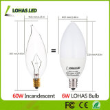 Os EUA introduzem no mercado o bulbo leitoso da vela do diodo emissor de luz do branco 6W E12 E14 Dimmable com o UL de RoHS do Ce