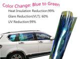 Azul cambiante del color de la manera a la película teñida camaleón verde del coche