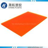 Hoja anaranjada de la depresión de la pared del gemelo del policarbonato del color