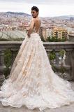 Eine Zeile/Hülsen-Champagne-Hochzeits-ein Kleid der Prinzessin-Tulle volles