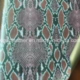 뱀 지상 이중 면 PU 신발 가죽 (QDL-SP034)