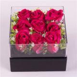 Роскошная ясная квадратная акриловая коробка цветка для Rose и шоколада