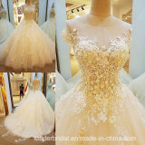 Мантия Tulle венчания Neckline шлюпки Bridal отбортовывая платье венчания D1604