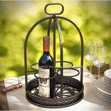 Художнический держатель бутылки шкафа 4 вина металла ковки чугуна Countertop