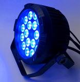 Luz magro lisa ao ar livre impermeável da PARIDADE do diodo emissor de luz de 18*15W RGBWA+UV 6in1