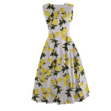 Plusgrößen-Frauen eine Zeile Zitrone gedrucktes Kleid kleines MOQ