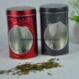 Gewohnheit Runde Tee Verpackung Zinn-Kasten mit PVC-Fenster
