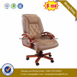 암소 가죽 두목 의자 나무로 되는 호화스러운 사무실 의자 Hx-Cr006