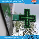 Sinal transversal do diodo emissor de luz da única cor P10 ao ar livre para a farmácia