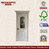 Роскошная дверь спальни твердой древесины с Tempered стеклом (GSP3-044)