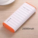 5 couleurs 20000mAh puissante banque de puissance mobile avec lumière LED