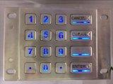 Claves puestos a contraluz del telclado numérico 16 del acero inoxidable