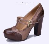 (Donna-в) классицистические ботинки женщин высокой пятки платформы кожи коровы
