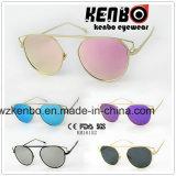 Óculos de sol de venda quente de metal Sobrancelha oversize sem ponte de nariz Km16152 Lente colourfull