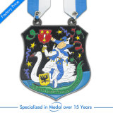 Médaille de cuivre du football 3D d'Antque de sport en gros avec la lanière