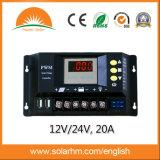12V 24V Selbstsolarcontroller der ladung-20A für PV-Batterie