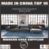 L sofa de luxe de cuir de meubles d'acier inoxydable de forme