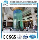 Großes zylinderförmiges Glasfisch-Becken verwendet mit transparentem Acrylblatt