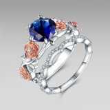 Bloemen Reeks -34 van de Ring van de Diamant van het Ontwerp Blauwe