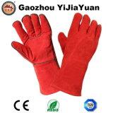 Перчатки Welders красной безопасности Split кожи Cowhide промышленные с En 407 Ce