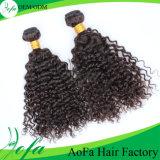 方法および倍によって引かれるねじれた巻き毛のRemyのバージンのブラジル人の毛